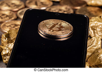 Bitcoin coin with gold