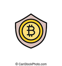 Bitcoin coin with shield, protection, blockchain flat color icon.