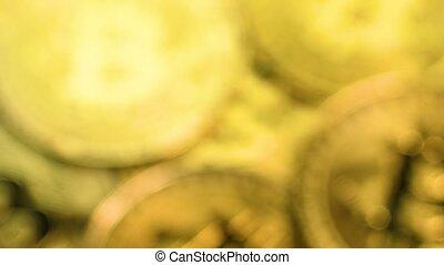 Bitcoin coins macro shot - Bitcoin cryptocurrency. Golden...