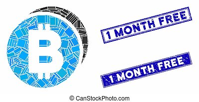 Bitcoin Coins Mosaic and Grunge Rectangle Stamp Seals