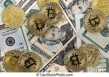 Bitcoin coins on United States US twenty dollar bills ($20)