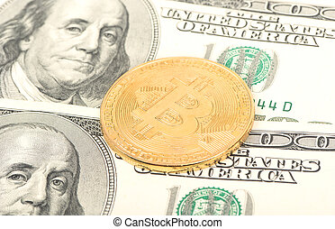 Bitcoin coins with dollars