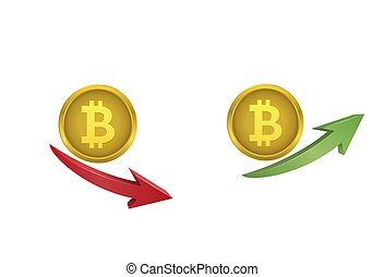 Bitcoin coins with green and red arrows