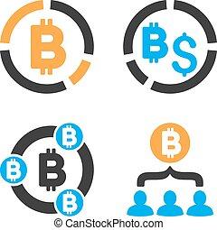 Bitcoin Collaboration Vector Icon Set