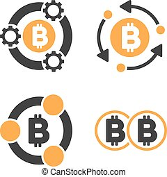 Bitcoin Collaboration Vector Icon Set