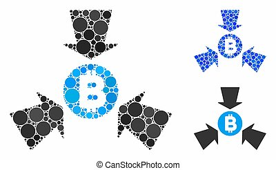 Bitcoin collect arrows composition of round dots in variable sizes and shades, based on Bitcoin collect arrows icon. Vector round dots are grouped into blue mosaic.