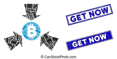 Mosaic Bitcoin collect arrows icon and rectangle Get Now seals. Flat vector Bitcoin collect arrows mosaic icon of scattered rotated rectangular items. Blue Get Now rubber seals with rubber texture.