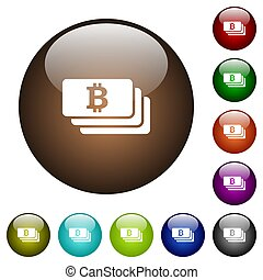 Bitcoin color glass buttons
