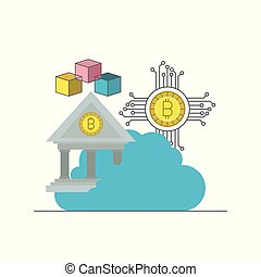 bitcoin colorful icons of digital currency in cloud service