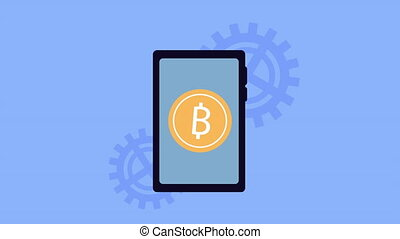 bitcoin commerce with smartphone animation