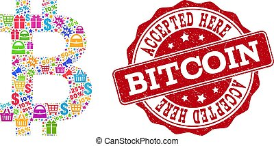 Bitcoin Composition of Mosaic and Scratched Seal for Sales