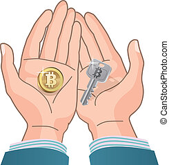 Bitcoin concept - A tcoin and Security Key in hands