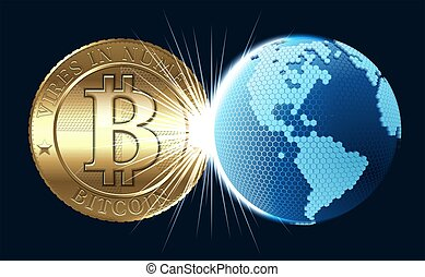 Bitcoin Concept - Cryptocurrency coin with digital world