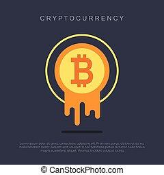 Bitcoin concept. Cryptocurrency logo sigh. Digital money....