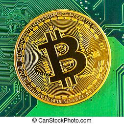 bitcoin concept - gold coin