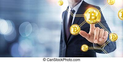 bitcoin, concept, -, homme affaires, poussée, cryptocurrency