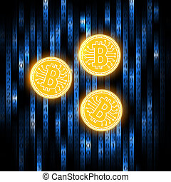 Bitcoin concept on an abstract blue background .Digital matrix of deducting money . Crypto currency abstraction golden bit-coin .