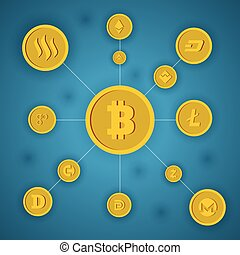 bitcoin concept on blue background