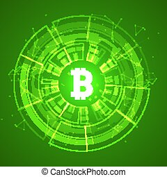 Bitcoin conceptual glowing background. Crypto currency blockchain business mining bitcoin