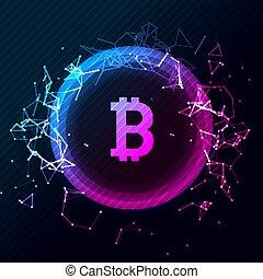 bitcoin, conceptueel, gloeiend, achtergrond., crypto, valuta, blockchain, zakelijk, mijnbouw, bitcoin