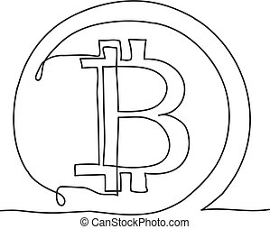 Bitcoin continuous line icon. Cryptocurrency vector