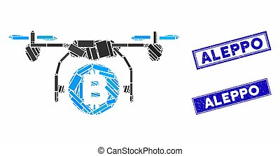 Bitcoin Copter Mosaic and Distress Rectangle Aleppo Stamps...