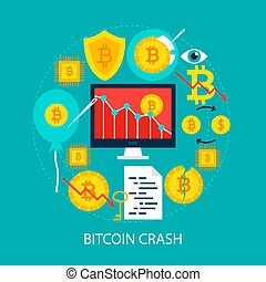 Bitcoin Crash Flat Concept