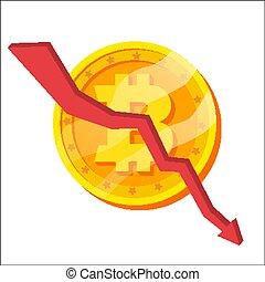 Bitcoin Crash Graph Vector. Bitcoin Crypto Currency Market...