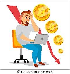 Bitcoin Crash Graph Vector. Bitcoin Price Drops. Crypto...