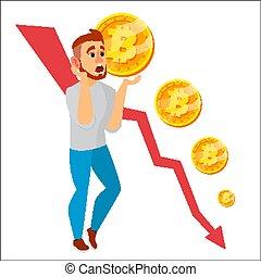 Bitcoin Crash Graph Vector. Bitcoin Price Drops. Price...