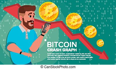 Bitcoin Crash Graph Vector. Surprised Investor. Negative...