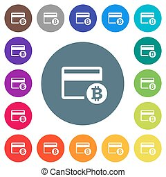 Bitcoin credit card flat white icons on round color backgrounds