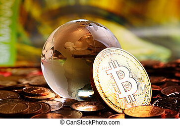bitcoin cristal globe - bitcoin coin and cristal globe over...