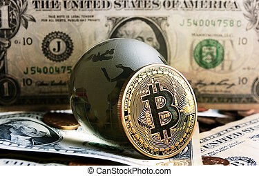bitcoin cristal globe over dollar background - bitcoin coin...