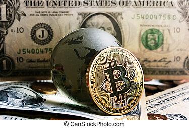 bitcoin, cristal, globe, sur, dollar, fond