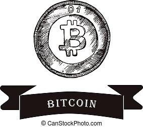 bitcoin., croquis, vecteur, illustration