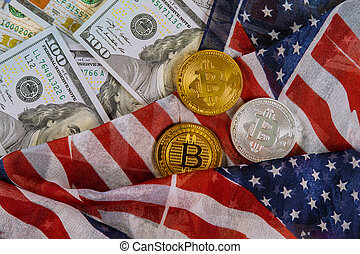 Bitcoin crypto currency and banknotes of US dollar with US flag coins virtual money