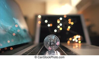 Macro shot of Bitcoins coins on laptop - Bitcoin. Crypto...