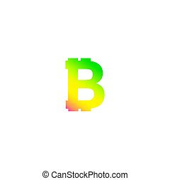 Bitcoin crypto currency logo icon isolated on white background, with btc logo sign, gradient multicolored colour, vector illustration