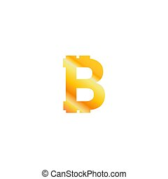 Bitcoin crypto currency logo icon isolated on white background, with btc logo sign, gradient golden colour, vector illustration