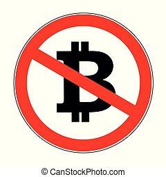 bitcoin crypto prohibited warning sign icon