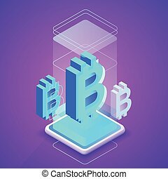 Cryptocurrency and blockchain vector illustration