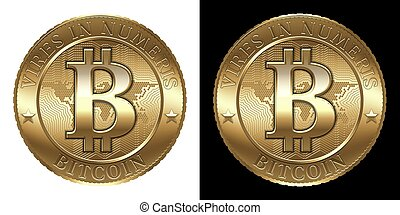 Bitcoin - Cryptocurrency coin isolated on black and white ...