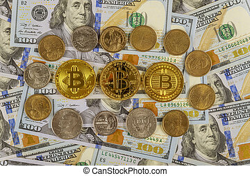 Bitcoin Cryptocurrency coins on US Dollar with US one dollar coins currency banknotes closeup BTC Cryptocurrency