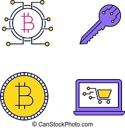 Bitcoin cryptocurrency color icons set
