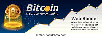 Bitcoin cryptocurrency concept banner background. Blockchain...