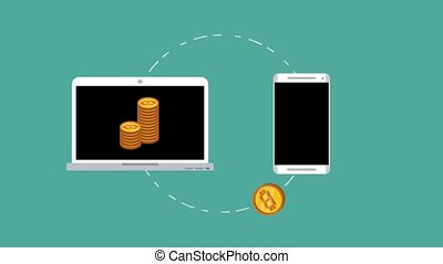 Bitcoin cryptocurrency concept HD animation