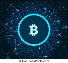 Bitcoin Cryptocurrency Digital Art Icon Vector - Bitcoin...