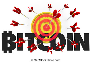 Bitcoin Cryptocurrency Digital Money Bow Arrow Bullseye Target 3d Illustration