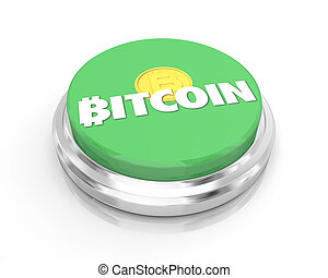 Bitcoin Cryptocurrency Digital Money Button Green Buy Purchase 3d Illustration